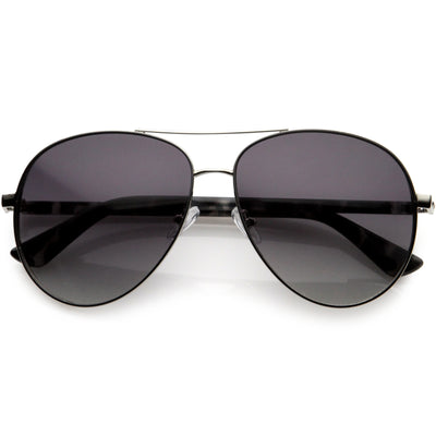 Luxe Oversize Pilot Two-Tone Double Metal Side Cover Cut Out Aviator Sunglasses D054