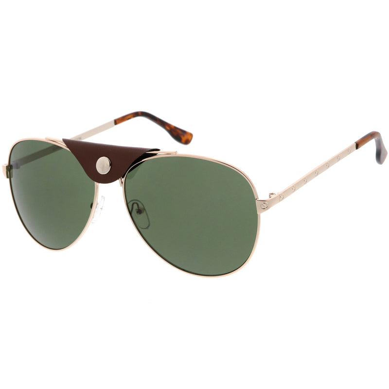 Button Snap Vegan Leather Crossbar Strap Teardrop Oversize Aviator Sunglasses D063