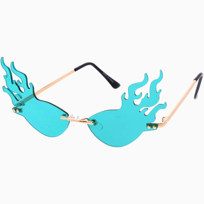 Flaming Fire Color Tinted Lens Oval Rimless Flames Sunglasses D073