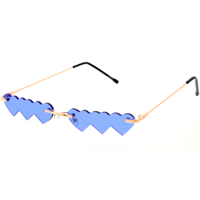 Micro Rimless Three Hearts Color Tinted Lens Heart Sunglasses D074