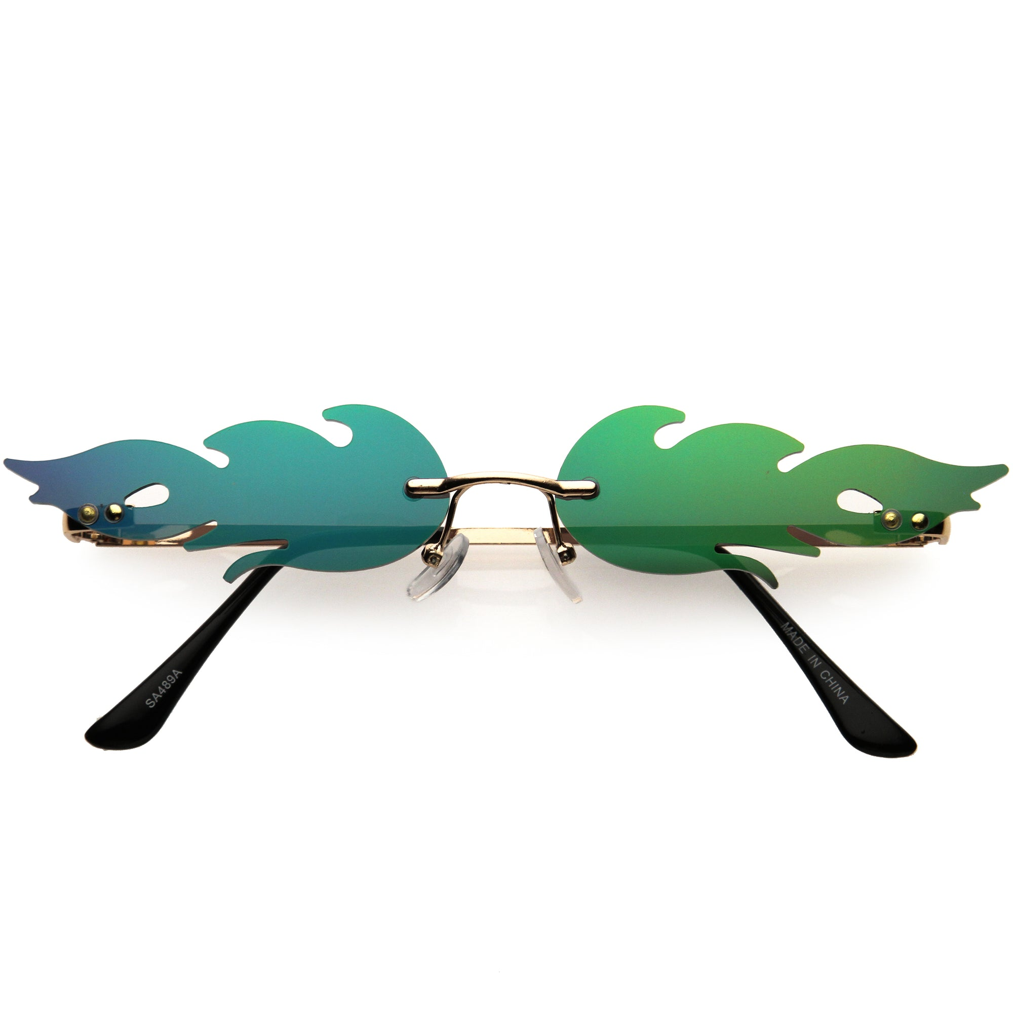 Bold Fire Flaming Shape Mirrored Lens Rimless Flames Sunglasses D081