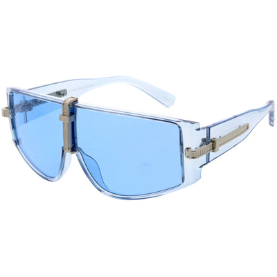 Bold Curved Color Tinted Lens Premium Metal Accent Shield Sunglasses D096