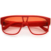 Sleek Oversize Color Tinted Square Lens Flat Top Shield Sunglasses D097