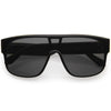 Sleek Oversize Neutral Square Lens Flat Top Shield Sunglasses D098