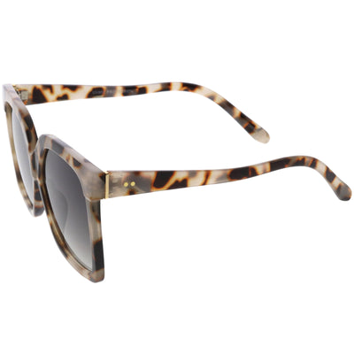 Elegant Neutral Colored Flat Lens Square Oversize Sunglasses D099