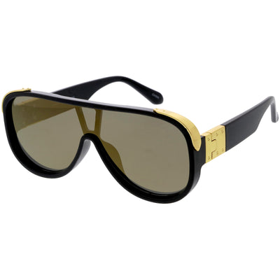 High Fashion Neutral Rounded Lens Flat Top Oversize Shield Sunglasses D101