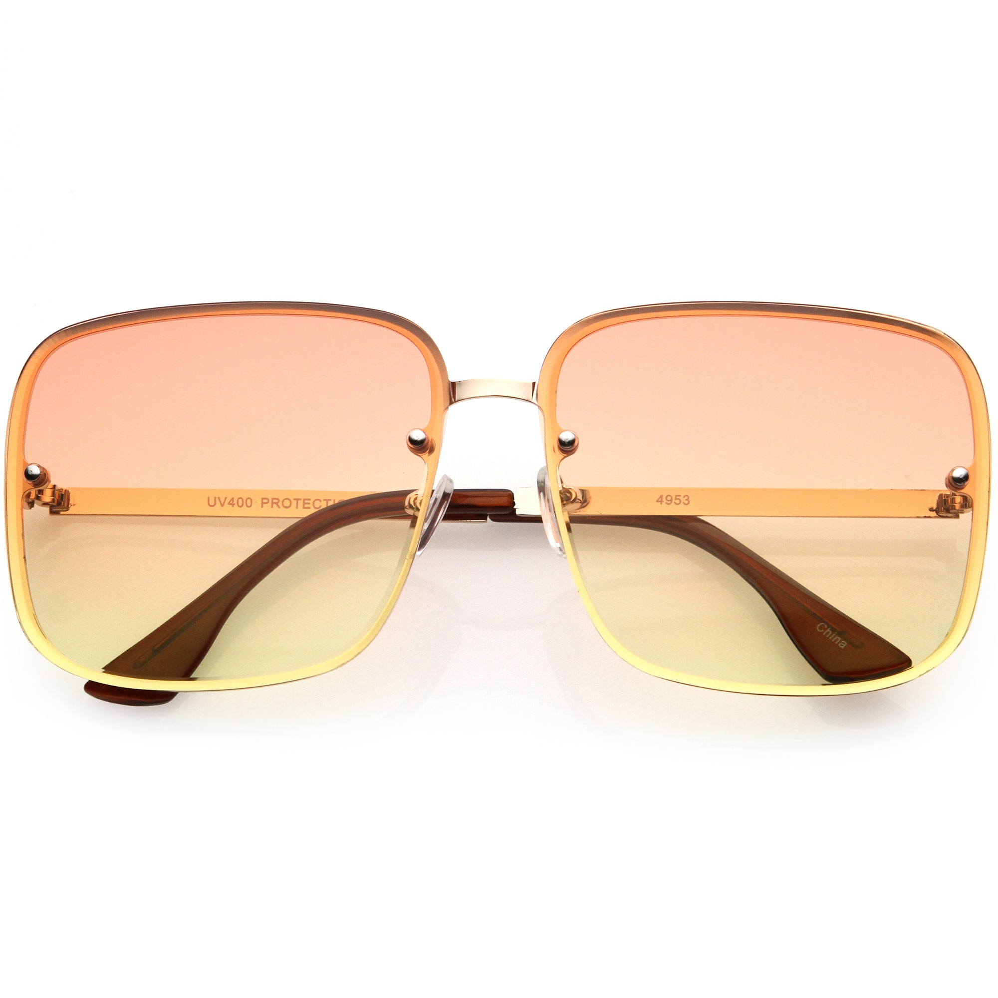 Luxe Rimless Gradient Lens Square Oversize Sunglasses  D103