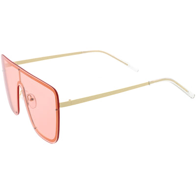 Sleek Oversize Full Rimless Flat Top Square Shield Sunglasses D106