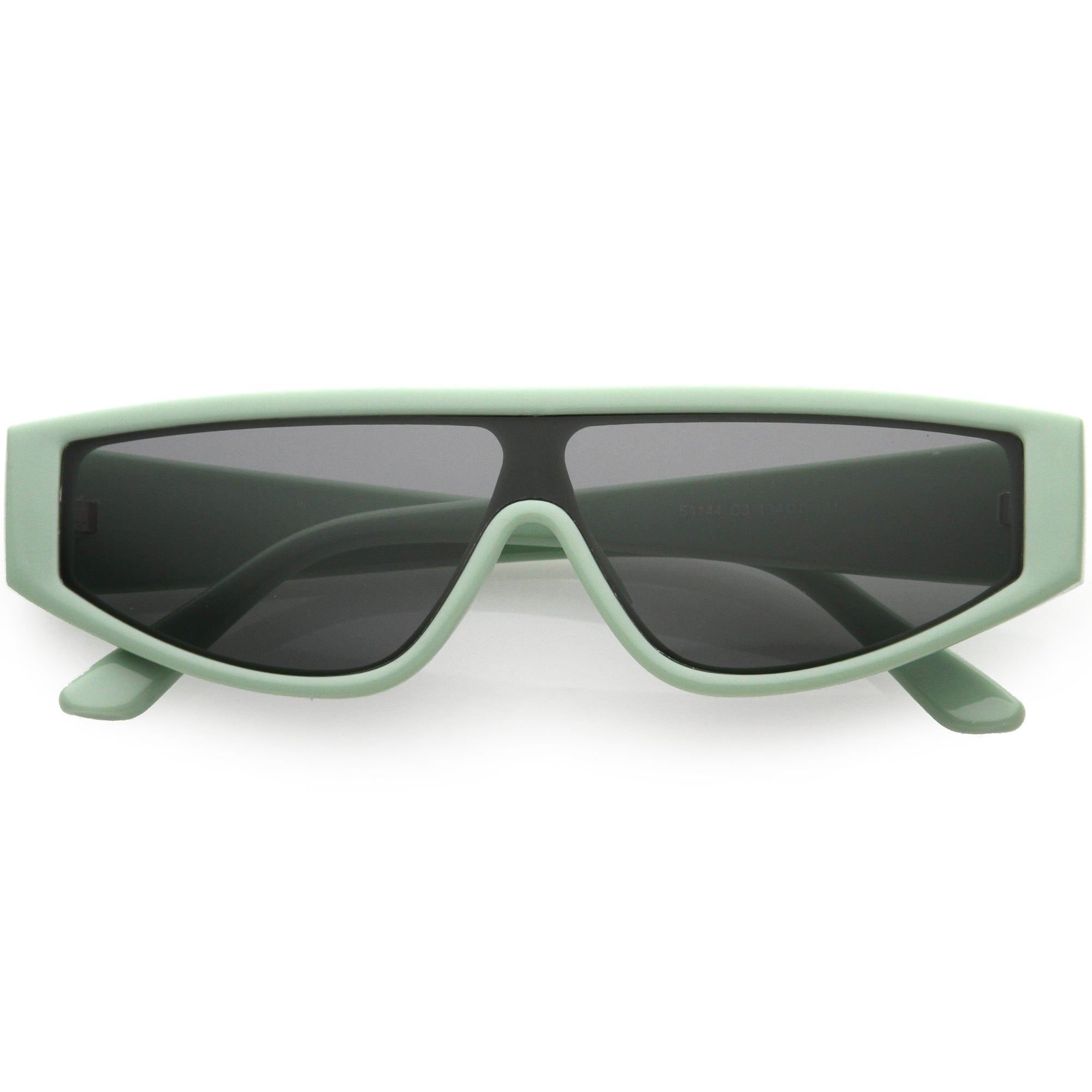 Cyber Chunky Flat Top Shield Mono Lens Sunglasses D107