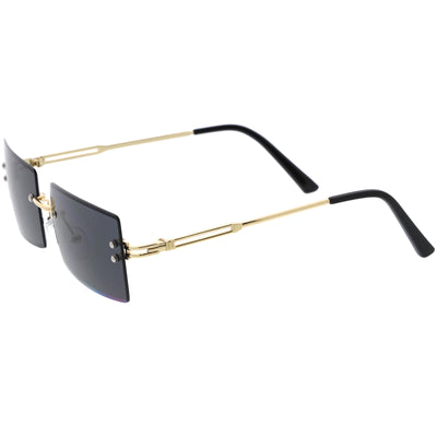 Luxe 90s Inspired Full Rimless Metal Accent Medium Square Sunglasses D108