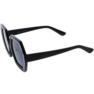 Glamorous Oversized Thick Rimmed Chic Geometric Sunglasses D113