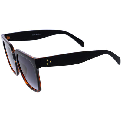 Classy Oversized Neutral Square Horn Rimmed Sunglasses D114