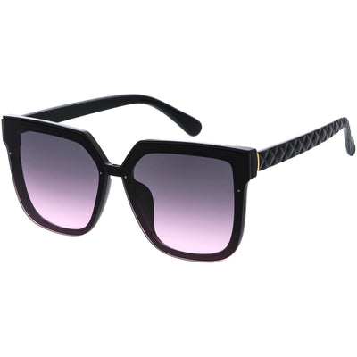 Quilted Textured Arms Neutral Colored Lens Square Sunglasses D115