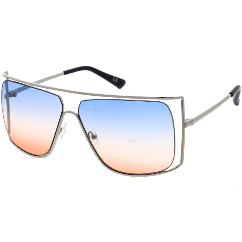 Sleek Oversize Flat Top Gradient Lens Cut-Out Square Sunglasses D116