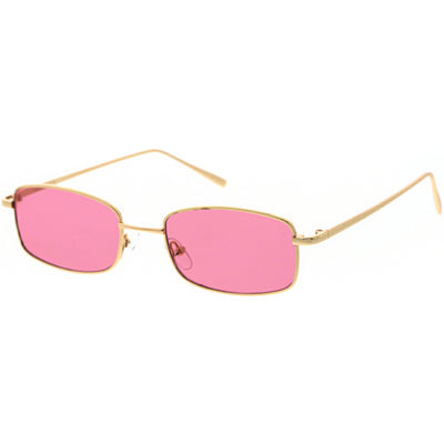 Slim 90s Inspired Color Tinted Lens Metal Square Sunglasses D121