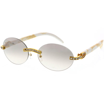 Premium Rhinestones Decorated Oval Sunglasses D125