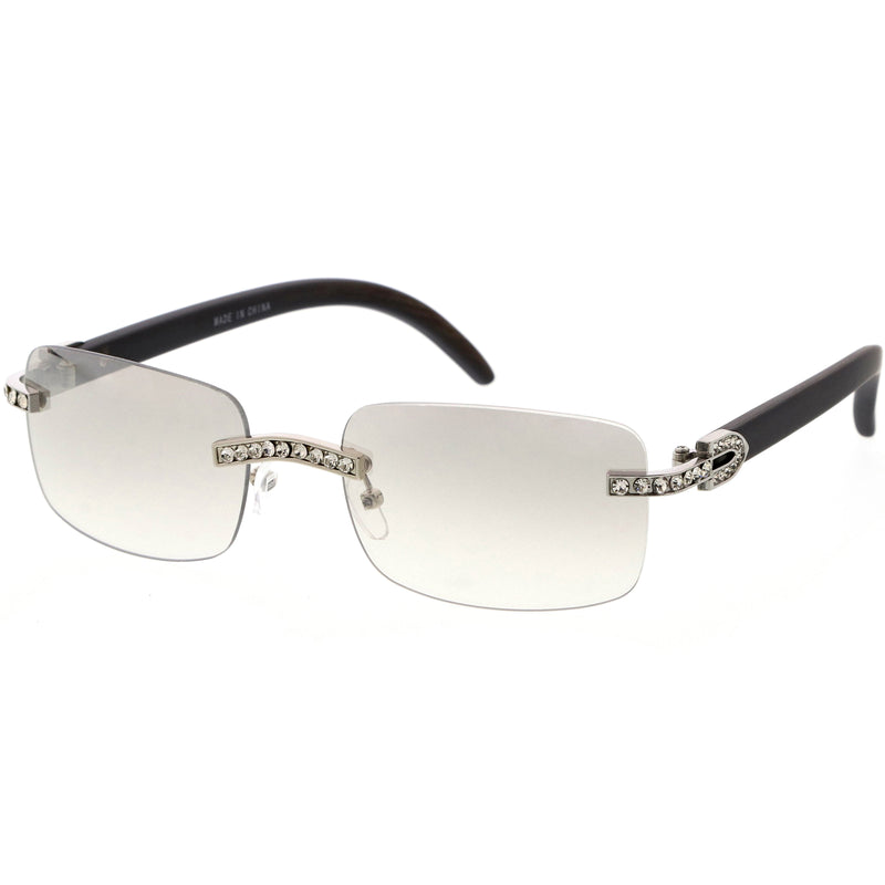 Luxe Medium Rhinestones Decorated Premium Square Sunglasses D129