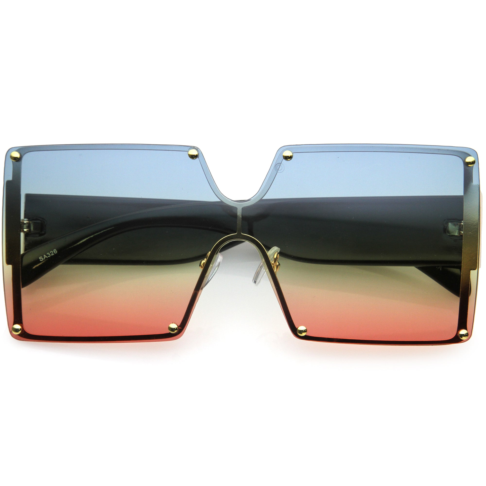Oversize Chunky Gradient Lens Square Shield Sunglasses D132