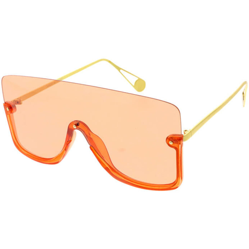 Oversize Rimless Monolens Color Tinted Shield Sunglasses D133