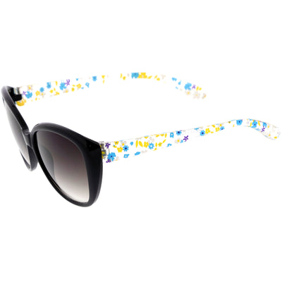 Kids Floral Round Oversize Cat Eye Sunglasses D138