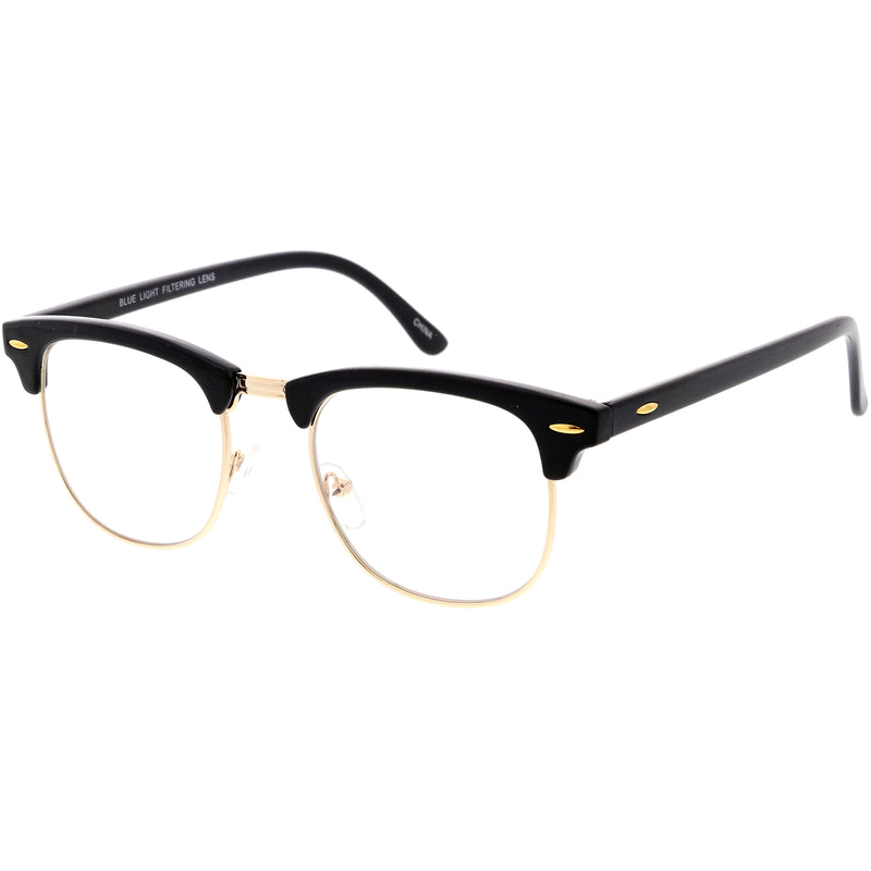 Classic Everyday Browline Two-Tone Half Frame Blue Light Glasses D157