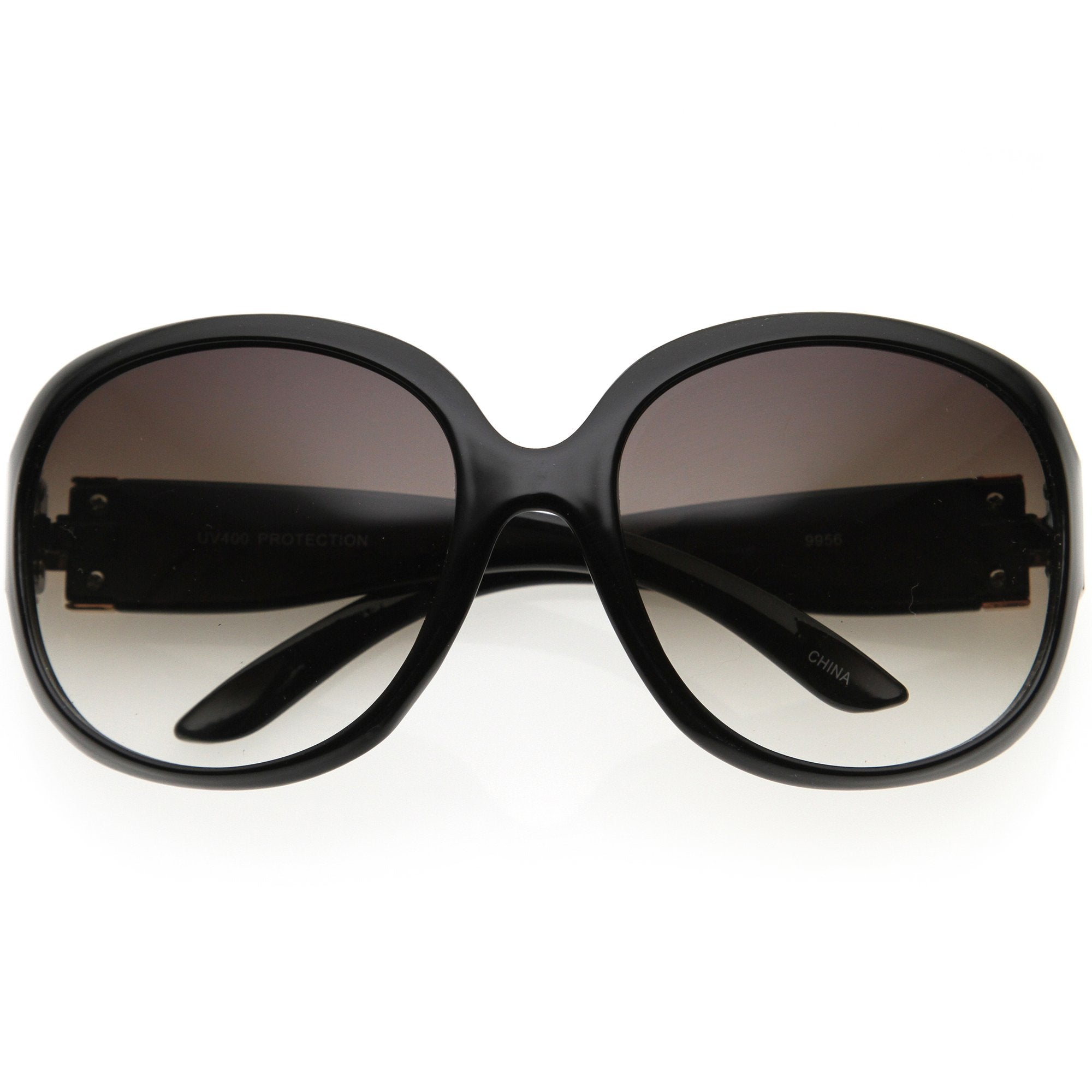 Polished Neutral Colored Lenses Rounded Oversize Sunglasses D173