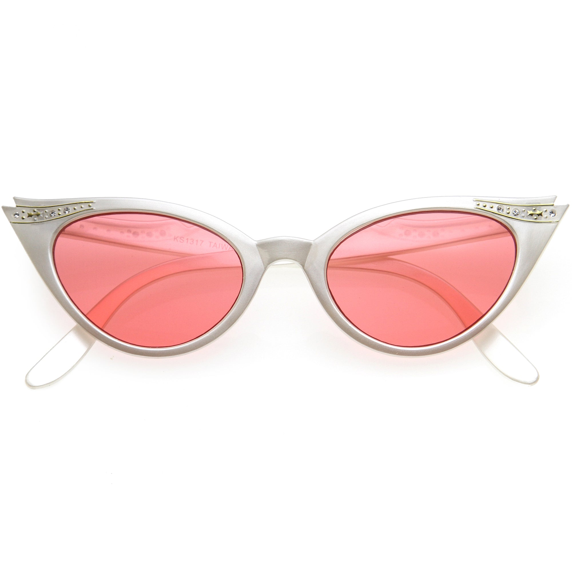 Color Pop 50s Vintage Womens Fashion Rhinestone Cat Eye Sunglasses D176
