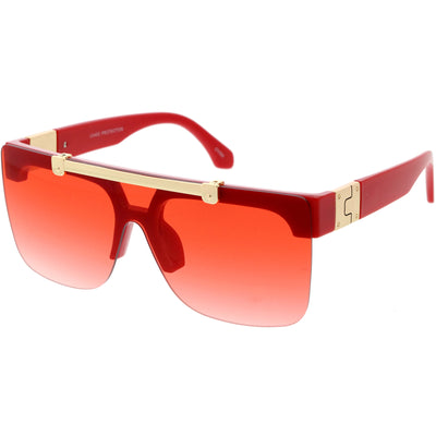 Hype Flip Up Color Tinted Gradient Lens Oversize Shield Sunglasses D192