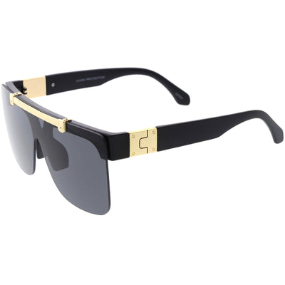 Hype Flip Up Metal Accent Oversize Shield Sunglasses D193