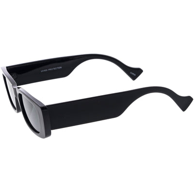 Retro Wide Square Flat Lens Chunky Rectangle Sunglasses D209