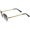 Luxe Bevelled Gradient Lens Small Rimless Geometric Sunglasses D215