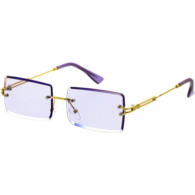Luxe Color Tinted Bevelled Lens Metal Rectangle Sunglasses D224