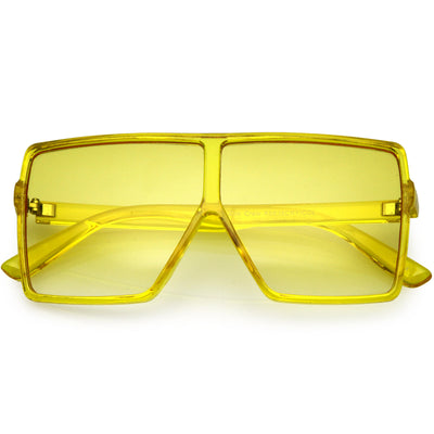 Kids Translucent Flat Top Square Colored Tinted Lens Small Oversize Sunglasses D023