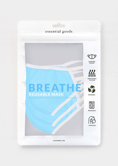 Essential Goods - Breathe Safety Masks (Blue / 3-Pack)