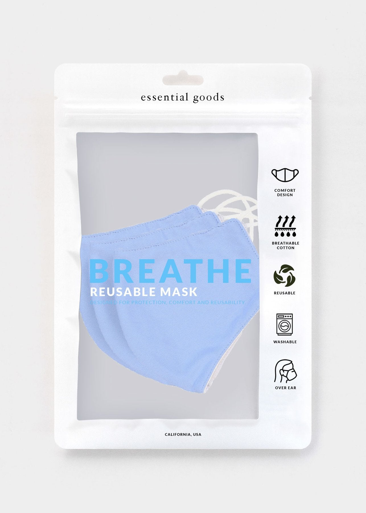 Essential Goods - Breathe Cotton Mask - Blue (3-Pack)