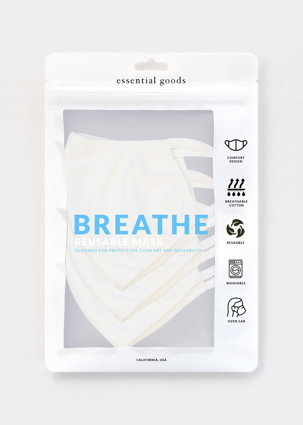 Essential Goods - Breathe Safety Masks (White/ 3-Pack)