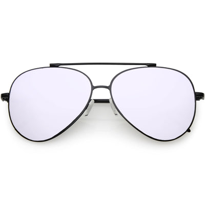 Retro Modern Mirrored Flat Lens Metal Aviator Sunglasses