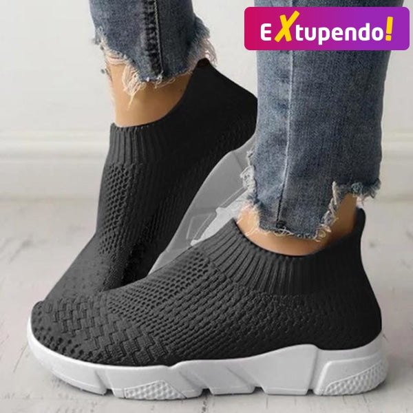 Women Casual Sneakers Flyknit Black / 6