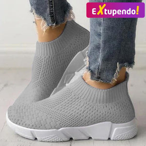 Women Casual Sneakers Flyknit Gray / 6
