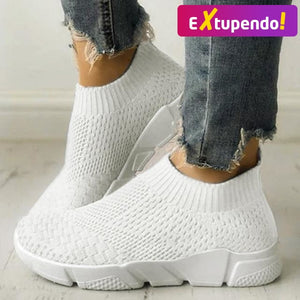 Women Casual Sneakers Flyknit White / 6