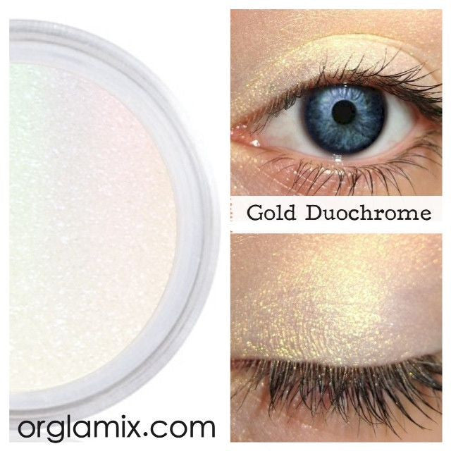 Gold Duochrome Eyeshadow Effects - Cruelty Free Makeup, Best Mineral Makeup, Natural Beauty Products, Orglamix