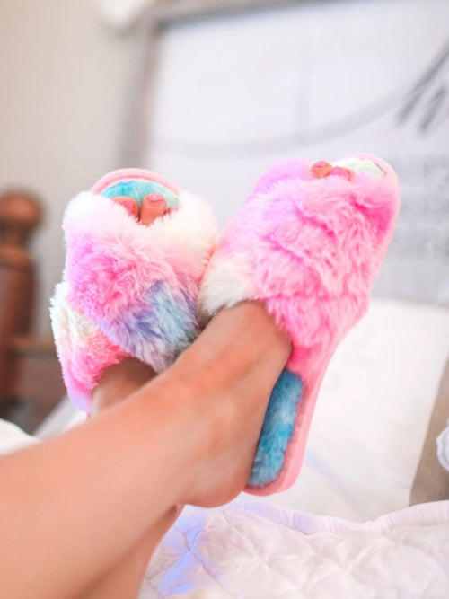 Fuzzy Crisscross Slippers