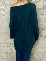 Deep Teal Wide Neck Top