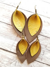 Load image into Gallery viewer, MaeBella Double Leather Petal Earrings