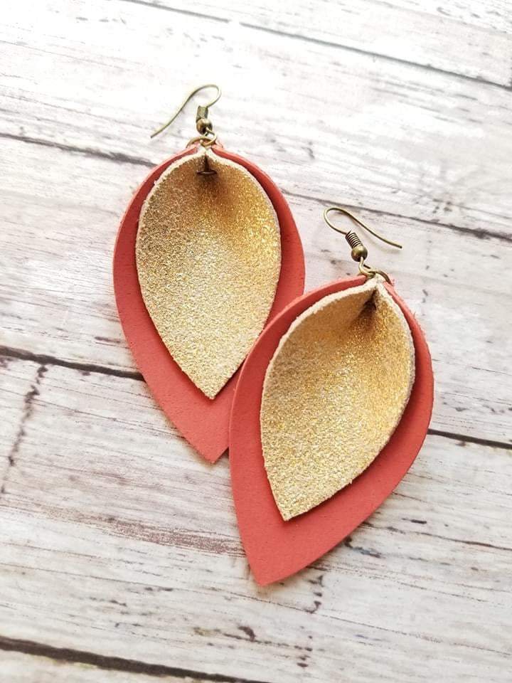 MaeBella Double Leather Petal Earrings