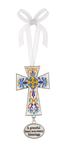 Cross Ornament ~  A grateful heart sees many blessings