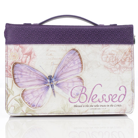 Blessed Butterfly in Purple Bible Cover