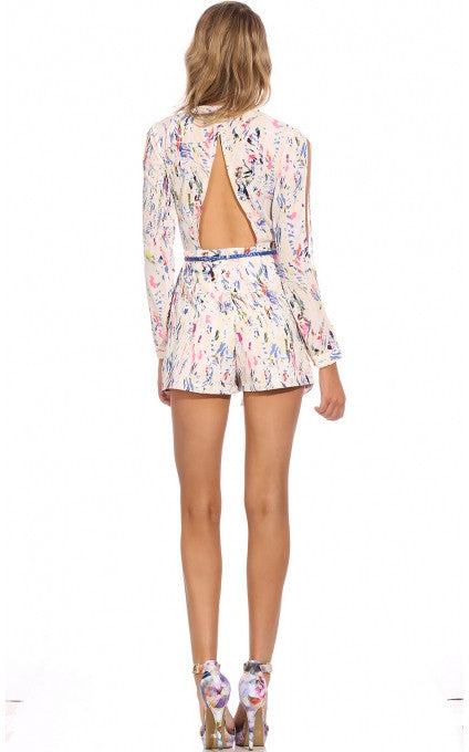 """Sparks of Love"" Graphic Print Romper"
