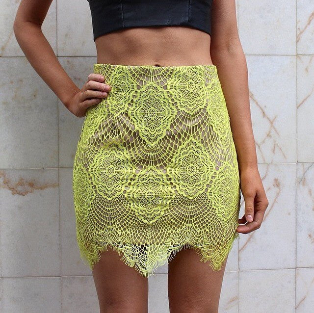 Grace Chartreuse Laces Skirt