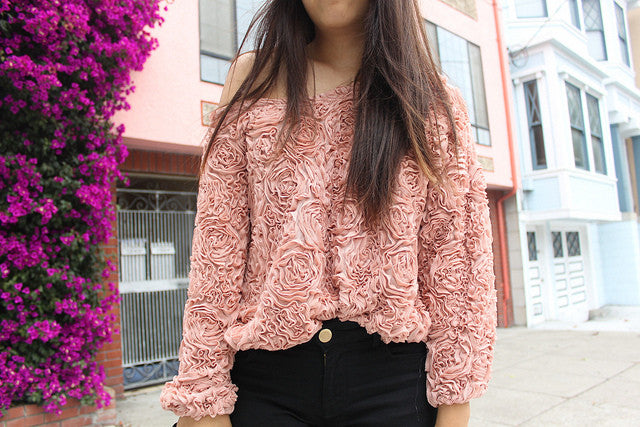 3D Embossed Roses Chiffon Blouse (MANY colors available)